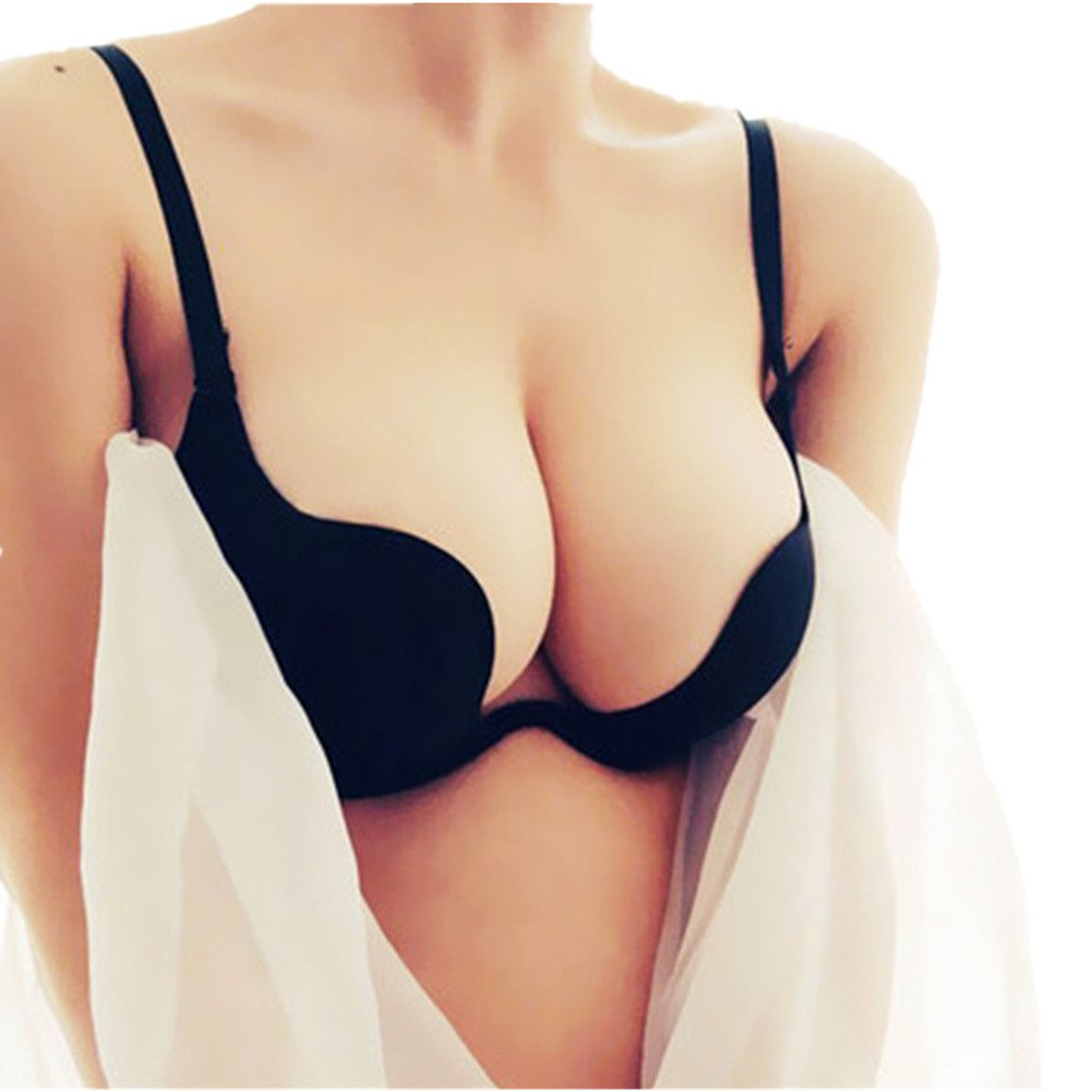 071f5813e7 Amazon.com  Plunge Bra Women Convertible Push Up Cleavage Bra Criss Cross  Low Back Halter  Clothing