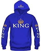 Minetom Couples Hommes Femme Sweat à Capuche Couronne KING QUEEN Impression Manches Longues Hooded Sweatshirt Pull Hoodie Tops