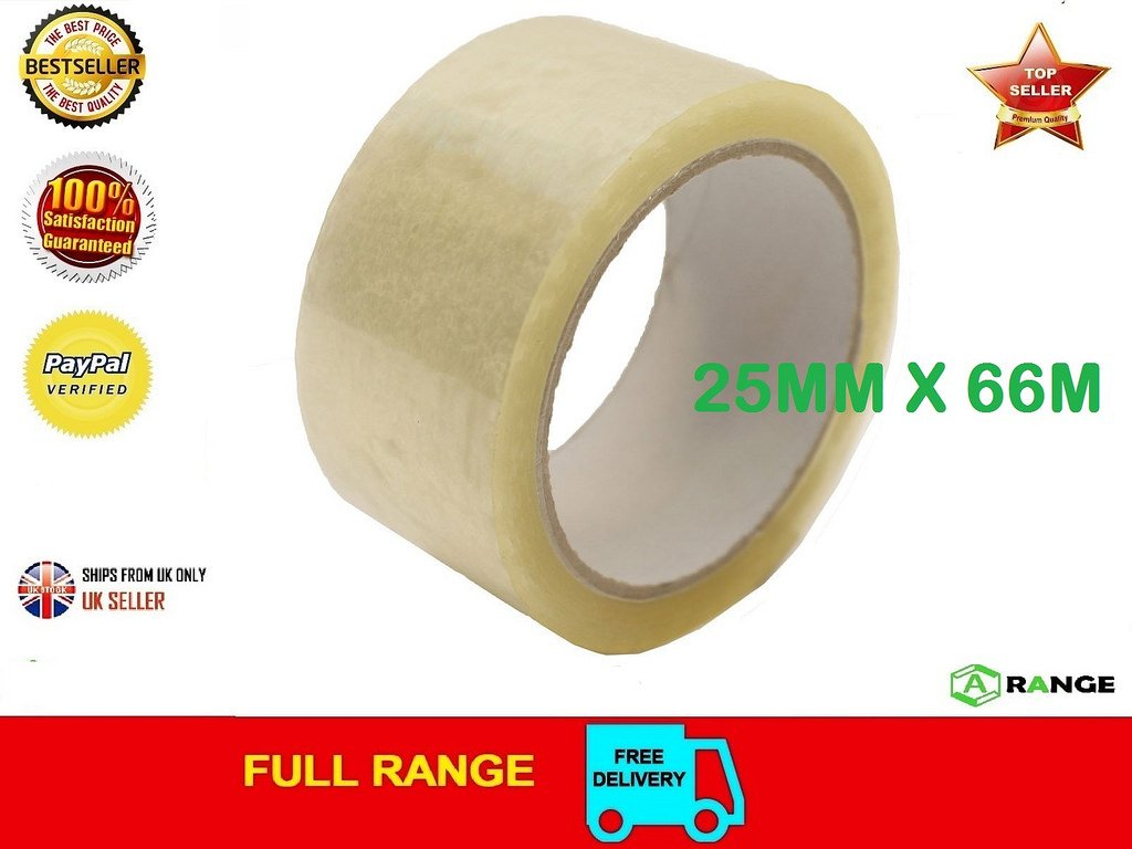 6 Rolls Clear HIGH Quality Packing Tape Sealing 25MM X 66M SELLOTAPE Packaging A Range