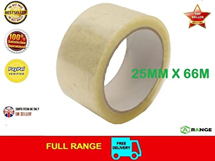 3 ROLLS CLEAR HIGH QUALITY PACKING TAPE SEALING 25MM X 66M SELLOTAPE PACKAGING