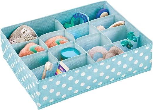 mDesign Caja para ordenar el Cuarto Infantil – Organizador de Tela con Lunares y 16 Compartimentos para Guardar Prendas y Ahorrar Espacio – Separador de cajones para artículos de bebé – Turquesa: Amazon.es: Hogar