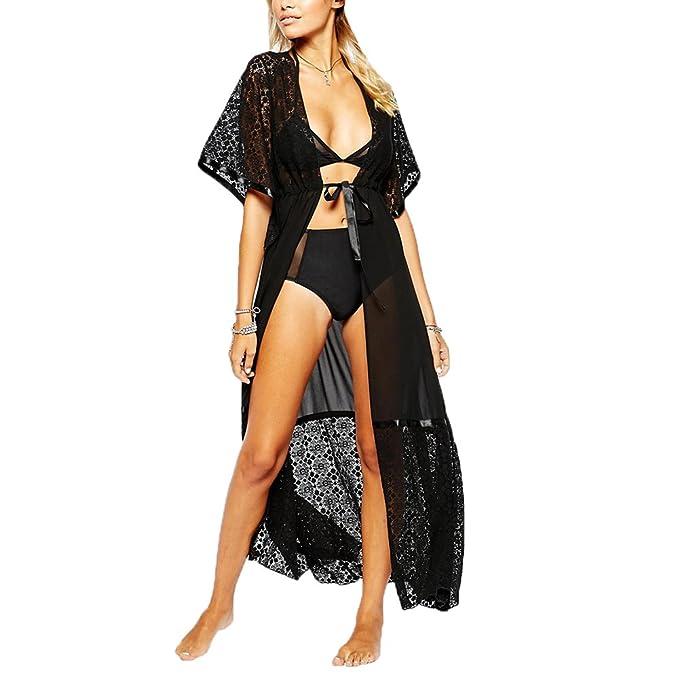60fa0646ff Womens Beach Cover Up Dress - Long Chiffon Lace Sheer Bathing Suit Cover  Ups Bikini Swimsuit Drawstring Swimwear Coverups (black B) at Amazon  Women's ...