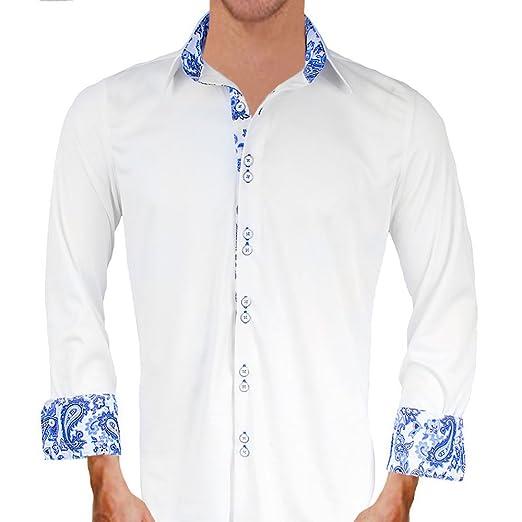 983b1eae0d9b8c White with Blue Paisley Moisture Wicking Designer Dress Shirt - Made in USA  (XS Modern