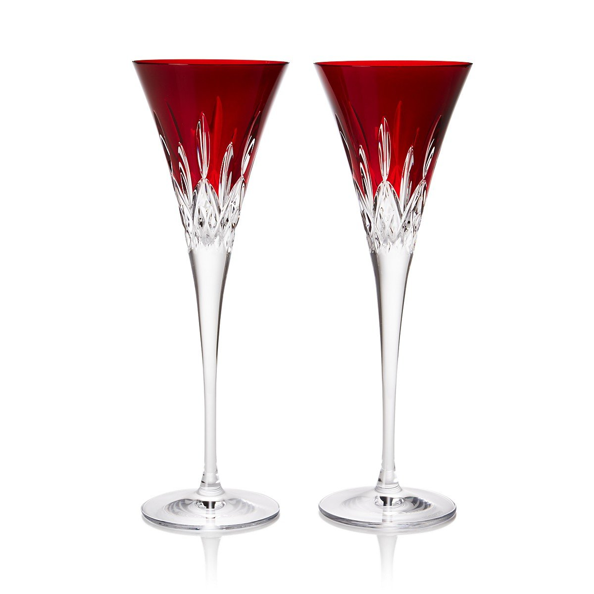 Waterford Crystal Lismore Pops Red Flute Pair