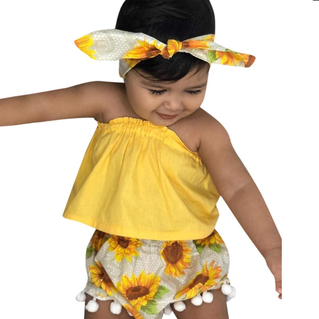 3 pcs Baby Girls Outfit Set Yellow Vest Tops Shorts Headbands Vest Tops Shorts Sunflower Casual Summer Clothes