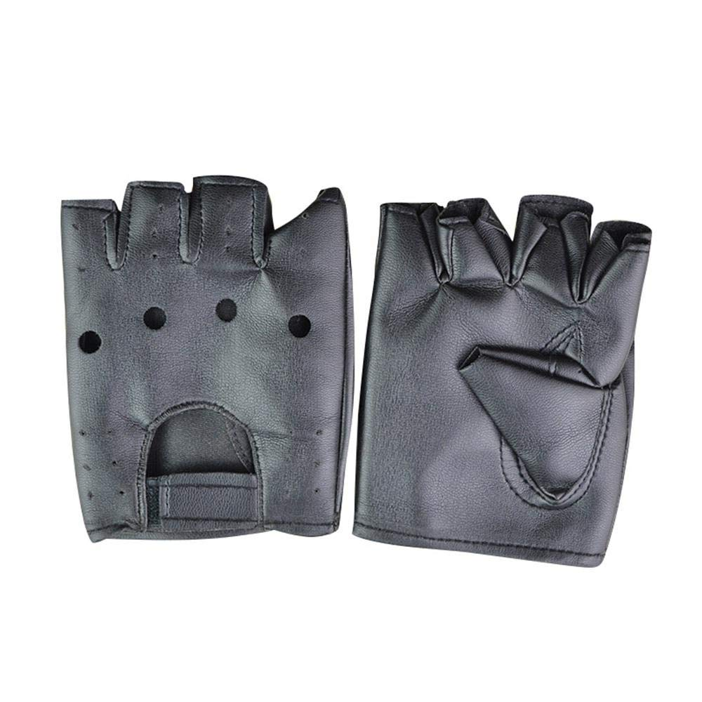 Womdee Leather Half Finger Gloves Unisex Fingerless Performance Dancing Gloves Sport Cycling Gloves Mittens Motorcycle Gloves Rock Gothic Punk Style Hip-hop Gloves