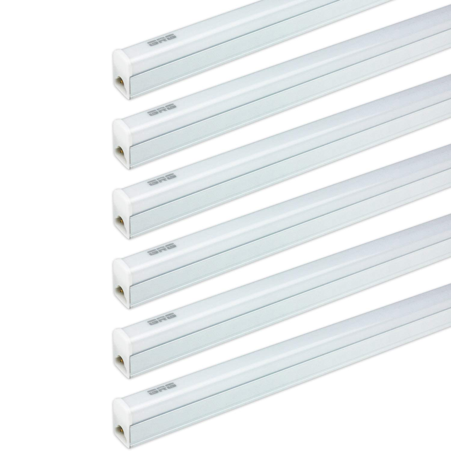 (Pack of 6) GRG LED T5 Integrated Single Fixture, 2Ft 10W 1100lm 6500K, Linkable Utility Shop Light, Garage Light, LED Ceiling & Under Cabinet Light, T5 T8 Fluorescent Tube Light Fixture Replacement