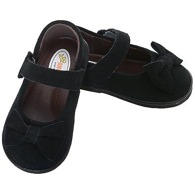 ad99baef84fb0 Angel Baby Girls 1 Black Velvet Bow Heart Mary Jane Dress Shoes