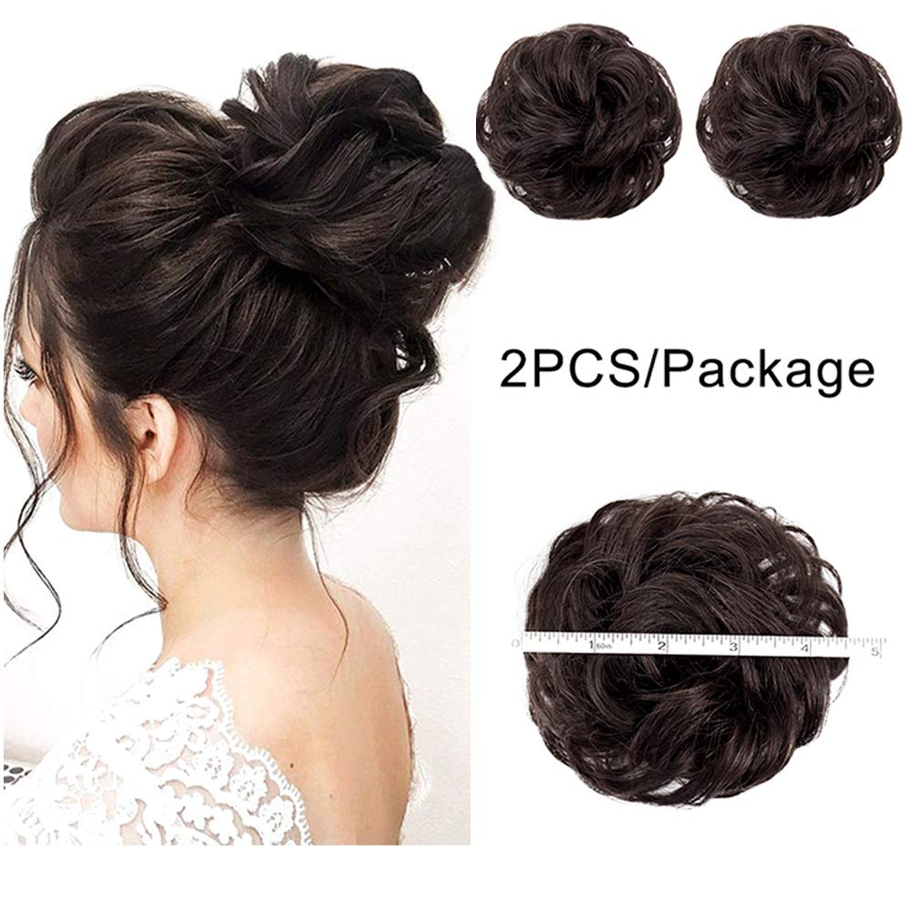 AISI QUEENS 100% Human Hair Bun Extensions 2PCS Curly Wavy Messy Bun Hair Extension Scrunchies Elegant Chignons Wedding Hair Piece for Women and Kids(Color:Natural color) by AISI QUEENS