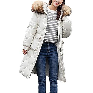 Femme Hanmax Duvet Chaude Hiver Avec Longue Fourrure Manteau En De Grande Coton Mi Capuche Doudoune Canard Taille AT0Aqgw