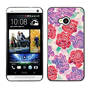 Planetar® ( Begonia Rose Floral Silk Art Design Spring ) HTC One M7 Fundas Cover Cubre Hard Case Cover