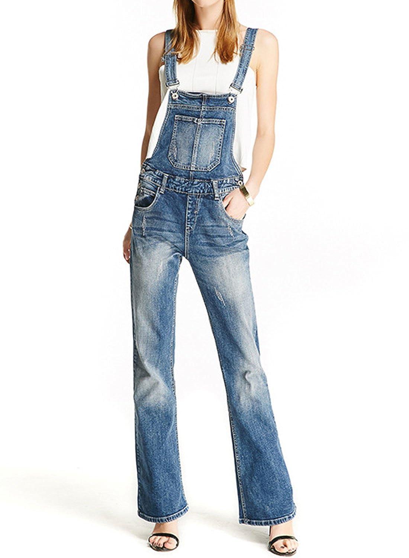 Womens Vintage Plus Size Loose Light Blue Overalls Bell-Bottom Jumpsuit Straight Leg KF-LSZYF-087