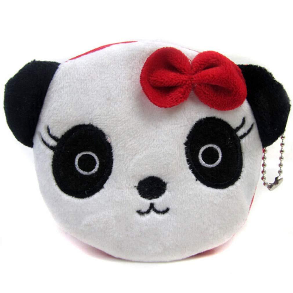 MOONQING Cute Panda Coin Purse Bow Panda Creative Animal Wallet Plush Credit Card Lipstick Key Zero Coin Girl Wallet,Female Panda