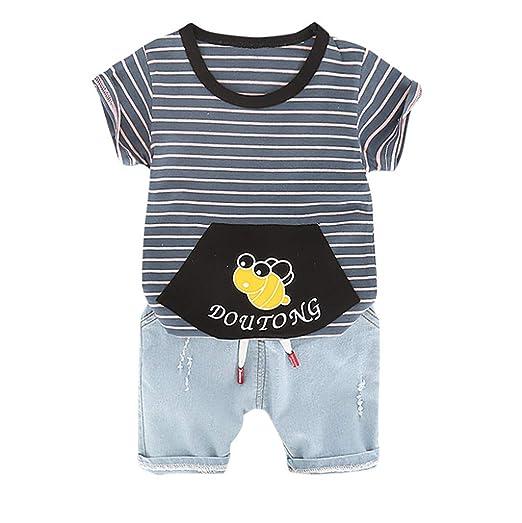 Amazon.com: Iuhan 2PCS Outfits Set Baby Kids Boys Cartoon Bee Stripe ...