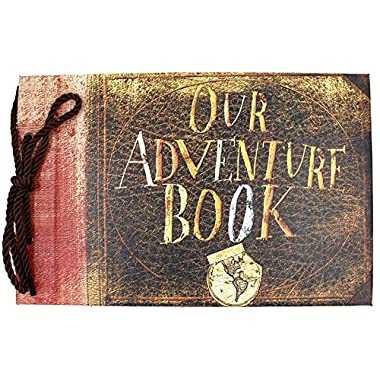 T-HAOHUA Anniversary Photo Album Scrapbook - Our Adventure Book Wedding Photo Album Scrapping 11.6 x7.5  inches, 80 Pages - Includes Bonus 5 Postcards and 5 Self-Adhesive Photo Corners