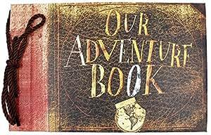 "T-HAOHUA Anniversary Photo Album Scrapbook - Our Adventure Book Wedding Photo Album Scrapping 11.6""x7.5"" inches, 80 Pages - Includes Bonus 5 Postcards and 5 Self-Adhesive Photo Corners"