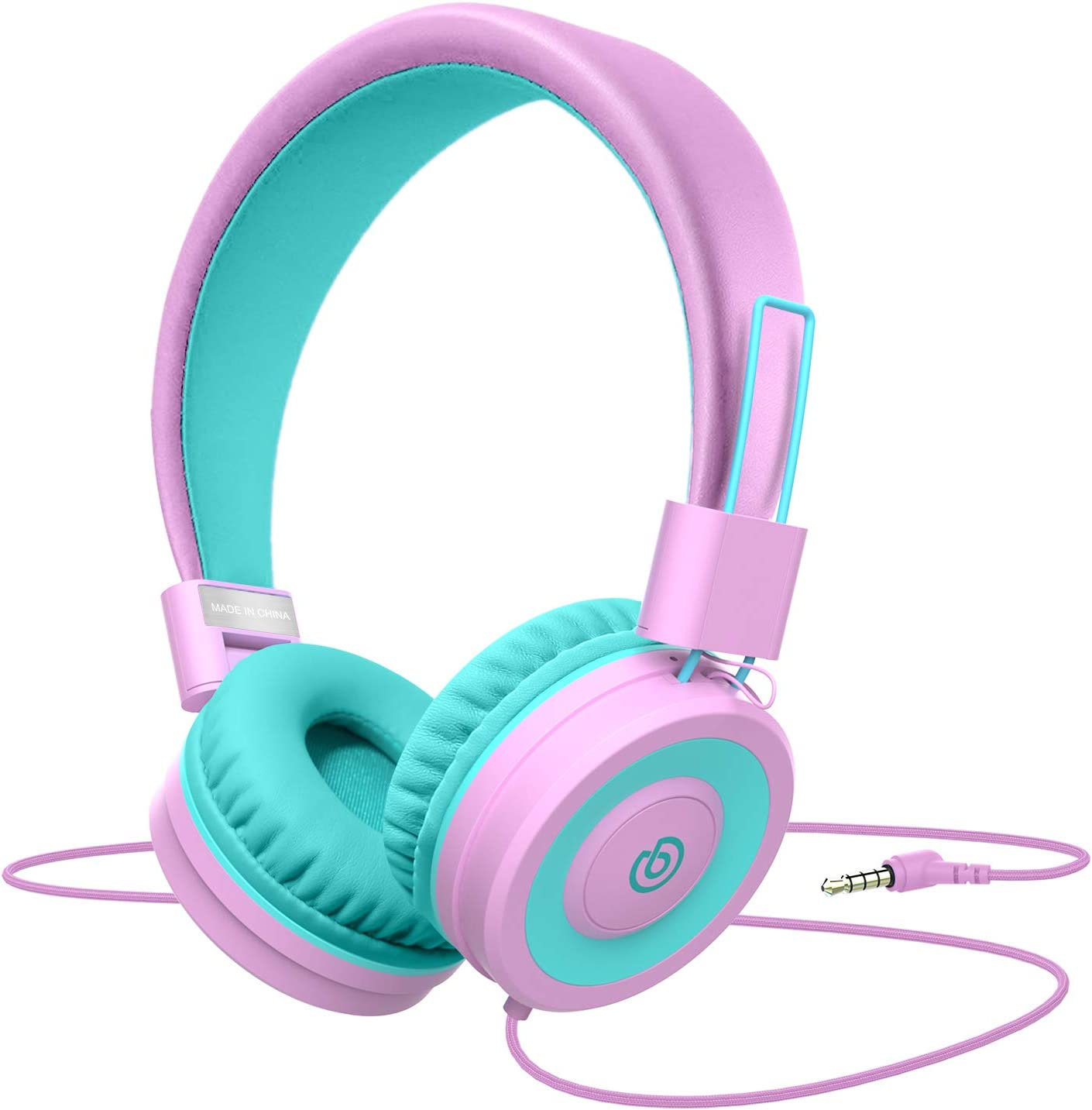 Kids Headphones,Besom i66 Headphones for Girls- Wired Headphones for Kids, Adjustable Foldable Tangle-Free Cord 3.5mm Jack -Childrens Headphones on Ear for iPad Tablet Kindle Airplane School(Pink)