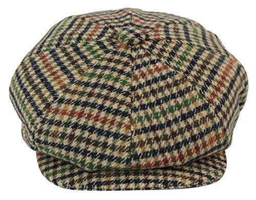 - King Ice Mens Wool Tweed Newsboy Cap Peaky Blinders Baker Boy Flat Check Grandad Hat Beige-Check l(58cm)