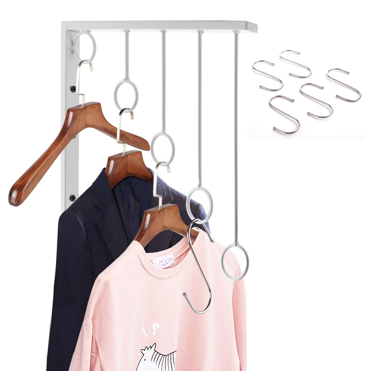 OKOMATCH Clothes Hanger Wall Mounted Clothing Organizer/Drying Rack/Garment Dispaly + 5Pcs Stainless Steel Hooks,Indoor & Outdoor Use,Heavy Duty (Grey)