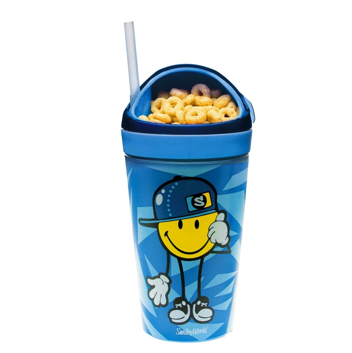 9 x 9 x 18 cm zak Snack-//Trinkbecher Smiley-Junior in blau Polypropylen