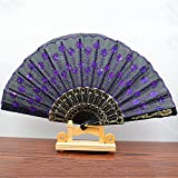 Black Purple Spanish Style Dance Wedding Party Lace Silk Folding Hand Held Flower Fan