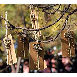 50pcs Wedding Favors Key Shaped Bottle Openers with Escort Tags