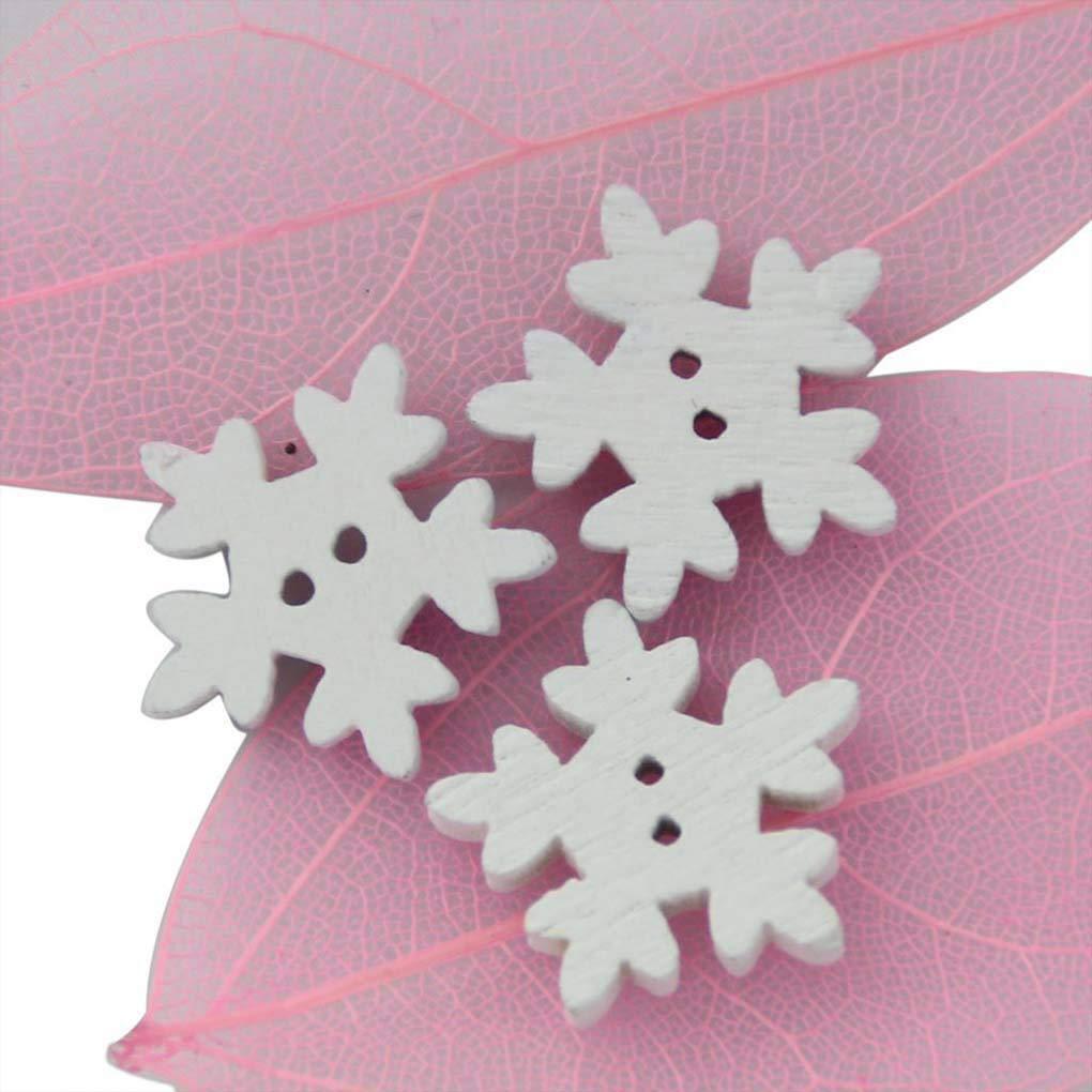 Luckilytop 200pcs 18mm Holz Weihnachtsschneeflo Buttons DIY ...