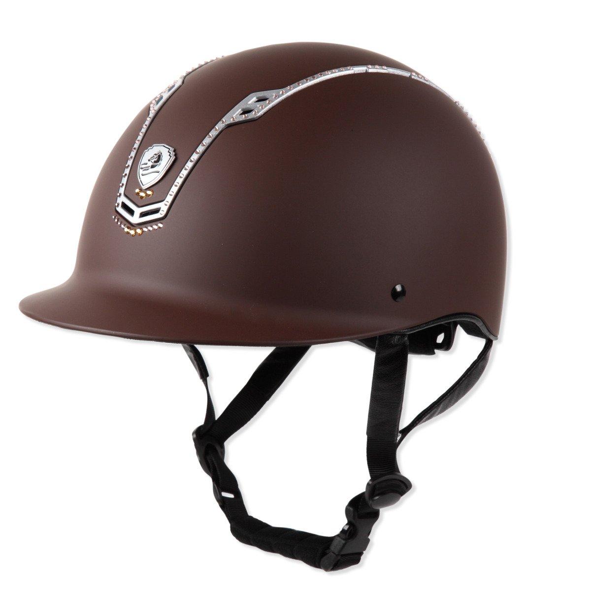 乗馬 ヘルメット プロテクター 乗馬帽 帽子 EQULIBERTA スワロフスキー ソリッド ダイヤル調整ヘルメット 乗馬用品 馬具 Medium ブラウン B07B2QY7M6
