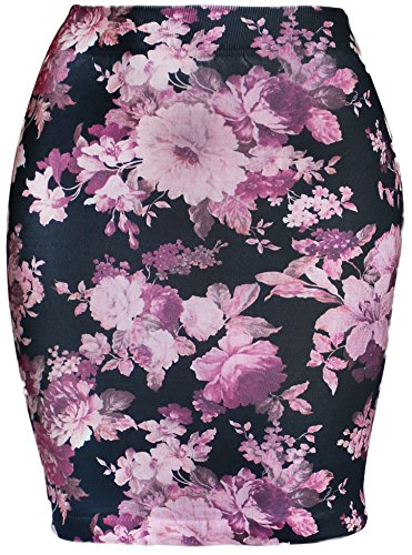 - KMystic Basic Seamless Fitted Printed Mini Skirt (Pink Flower)