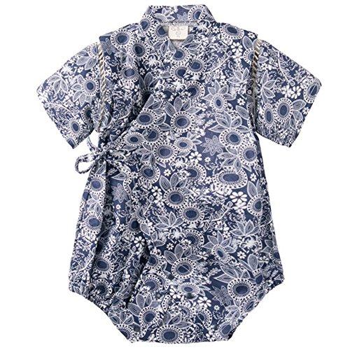 - Unisex Baby Organic Cotton Kimono Comfy Loose Printed Pajamas Rompers Dark Blue 70