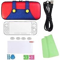HEARNOX Nintendo Switch Lite Funda - Case Estuche Protector - Kit de Accesorios - con Mica de Cristal - Pack 6 en 1 - para versión Lite - Modelo 2020