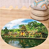 Kisscase Custom carpetBalinese Decor Tirta Empul Temple Bali Indonesia Exotic Trees Oriental Building Fish Lake Photo Bedroom Living Room Dorm Decor Green Yellow