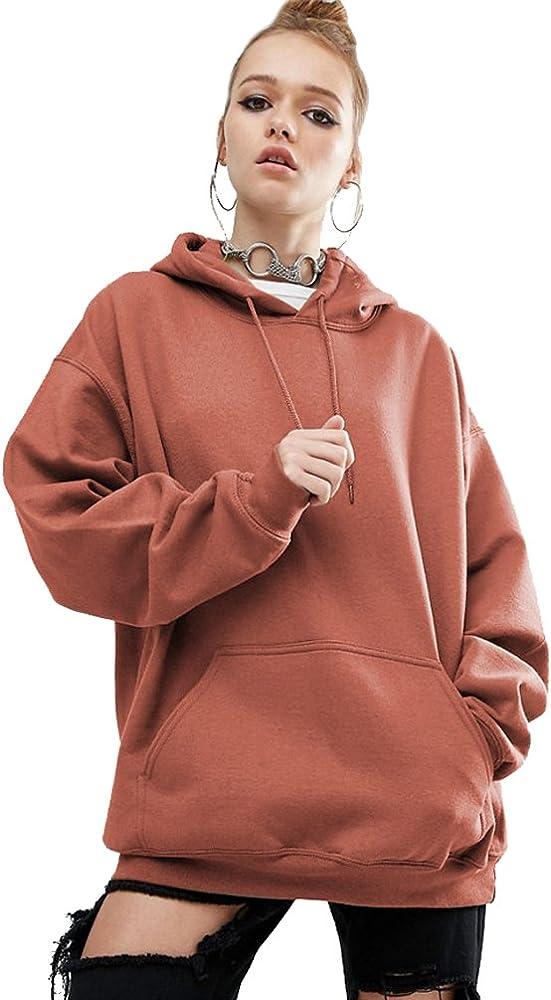Sudaderas con Capucha Largas Mujer Hoodies Sudadera Larga Lisa Pullover Sudaderas Anchas Deportivas Chica Camisetas de Manga Larga Jerseys Dama Camisas Bonitas Suelto Tops Color Puro Camello S: Amazon.es: Ropa y accesorios