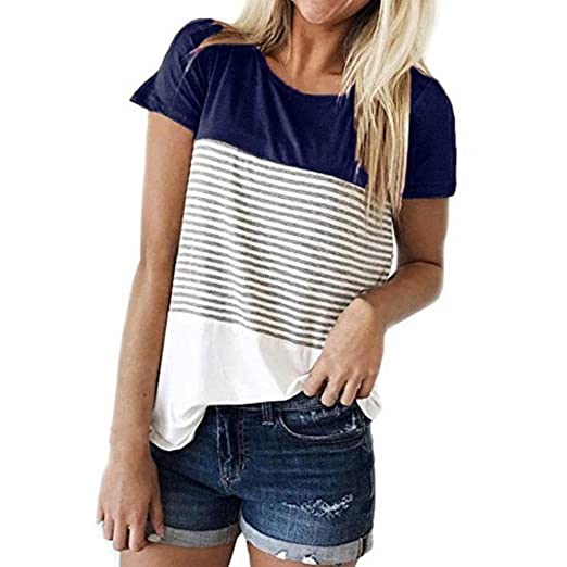3fae868def102 HGWXX7 Womens Summer Casual Stripe Short Sleeve Loose Cotton Tops Blouse T- Shirt (S
