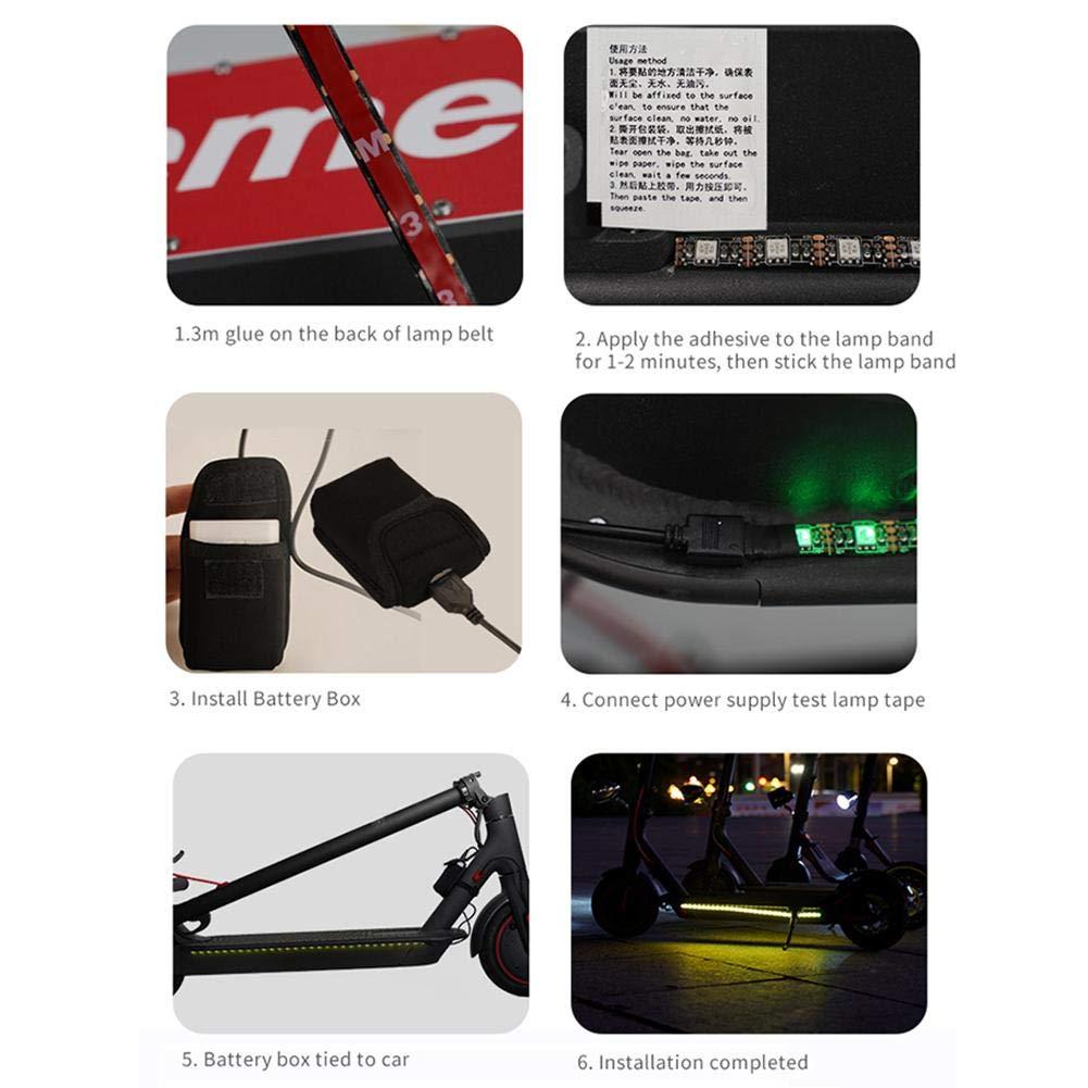 LED Colorati illuminabili Pieghevoli a LED ningxiao586 Strisce Luminose a LED compatibili per Scooter Elettrico Xiaomi M365