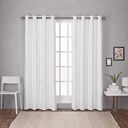 Exclusive Home Curtains London Thermal Textured Linen Grommet Top Window Curtain Panel Pair Winter White