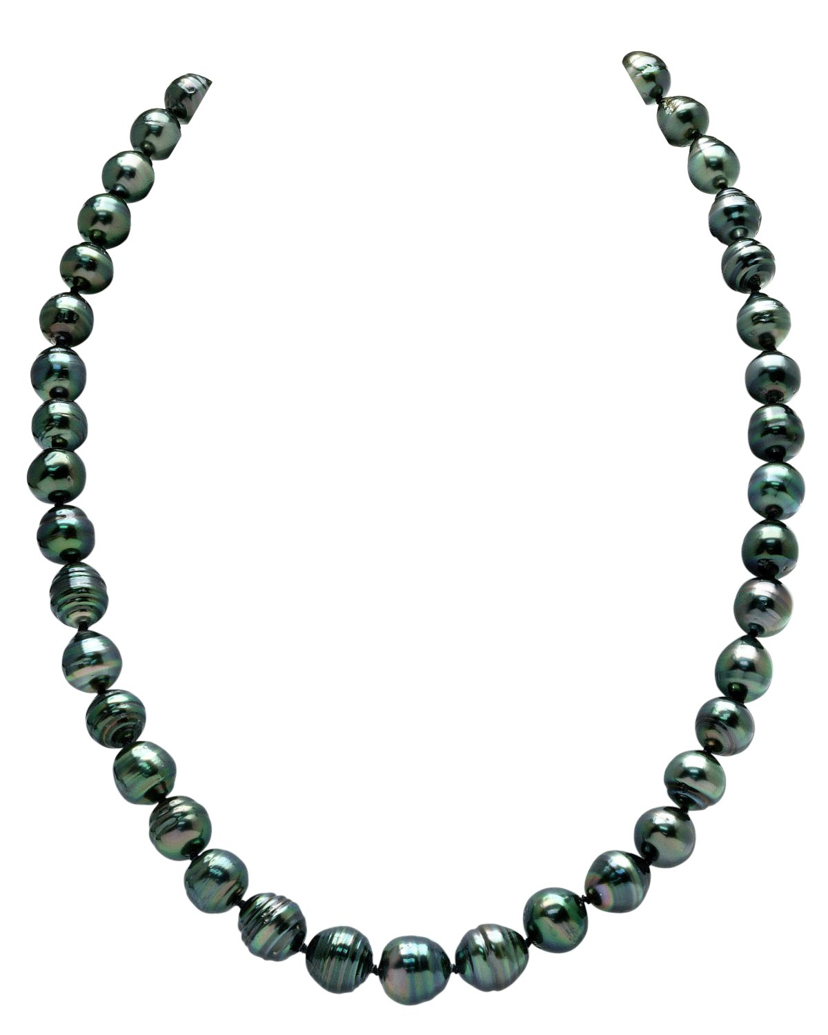 THE PEARL SOURCE 14K Gold 8-10mm Baroque Genuine Black Tahitian South Sea Cultured Pearl Necklace in 20'' Matinee Length for Women by The Pearl Source