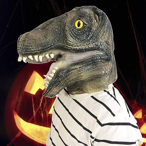DollylaStore Máscara de Moda única Máscara de Halloween Disfraz Fiesta Latex T-Rex Máscara de Cabeza de Dinosaurio Fiesta de Disfraces Fiesta de Carnaval: ...