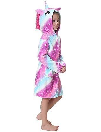 Image Unavailable. Image not available for. Color  Aibrou Kids Soft Bathrobe  Unicorn Hooded Sleepwear Plush Loungewear f33e24bb8