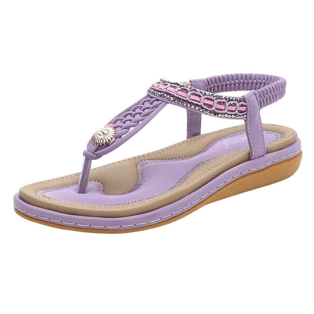 Kauneus Womens Summer Beach Flat Sandals Rhinestone Shiny Beads Slip On Flip Flops Thong Shoes Purple by Kauneus Fashion Shoes