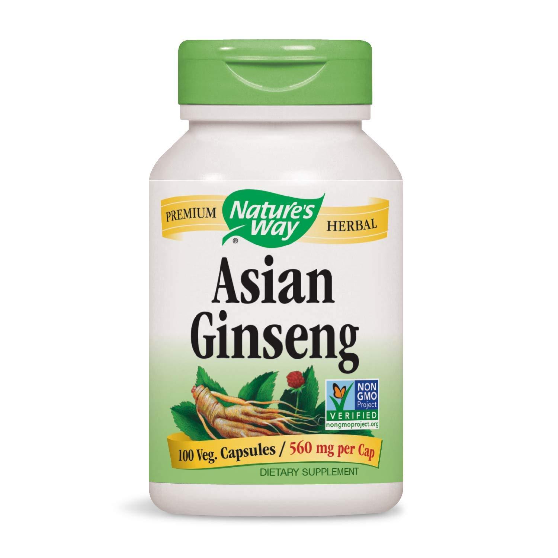 Nature's Way Premium Herbal Asian Ginseng 560 mg per capsule, 100 VCaps (Packaging May Vary)