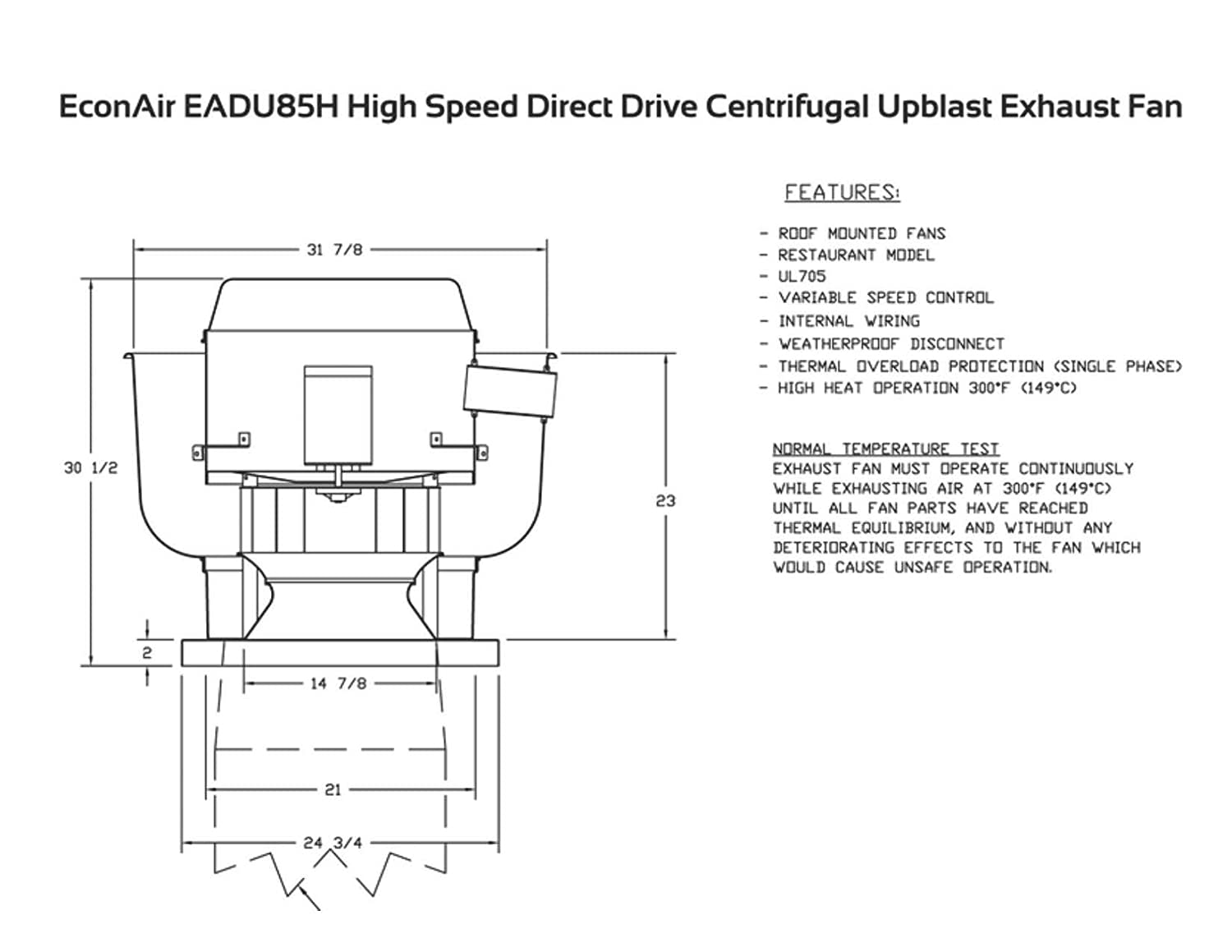 2200 Cfm Direct Drive Upblast Restaurant Exhaust Fan With 1575 Centrifugal Wiring Diagram Wheel Motor 75 Hp 115 V Single Phase
