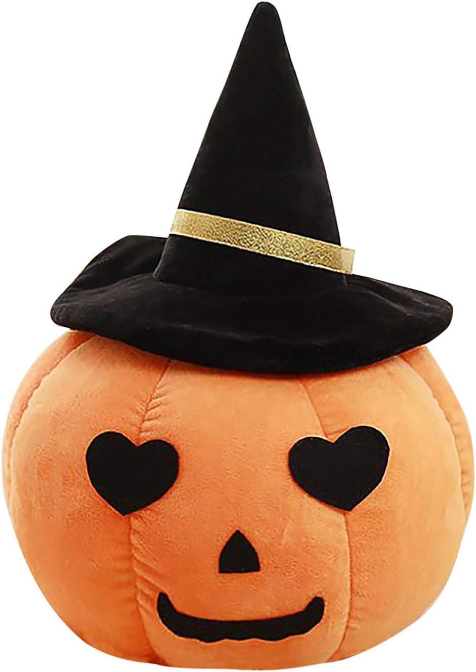 Binory Pumpkin Shaped Pillow Wearing a Witch Hat Pumpkin Stuffed Animals Cushion Halloween Plush Toys for Home Office Decors,Creative Soft Lumbar Back Support Decorative Throw Pillow Gift,B 5.5inch
