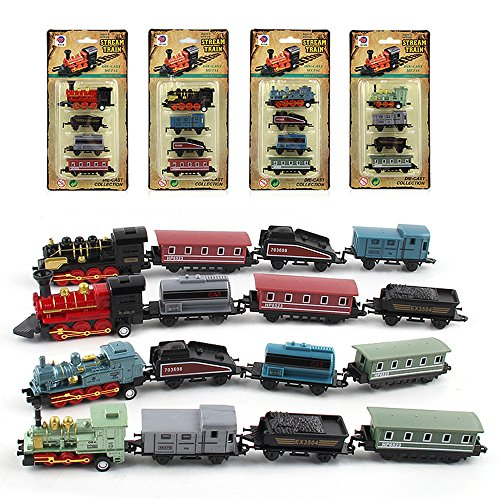 CORPER TOYS Mini Train Toy Die-Cast Pull Back Steam Train Model Set Assorted Styles for Kids Boys - 4 PACKS (16 pieces)