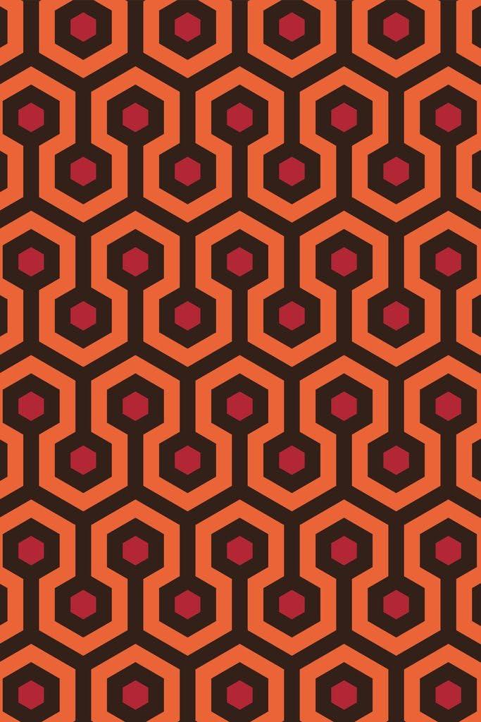 Overlook Hotel Retro Carpet Hexagon Pattern Horror Movie Spooky Scary Halloween Decoration Cool Wall Decor Art Print Poster 12x18