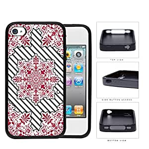 Red Victoria Damask With Black Stripes Rubber Silicone TPU Cell Phone Case Apple iPhone 4 4s