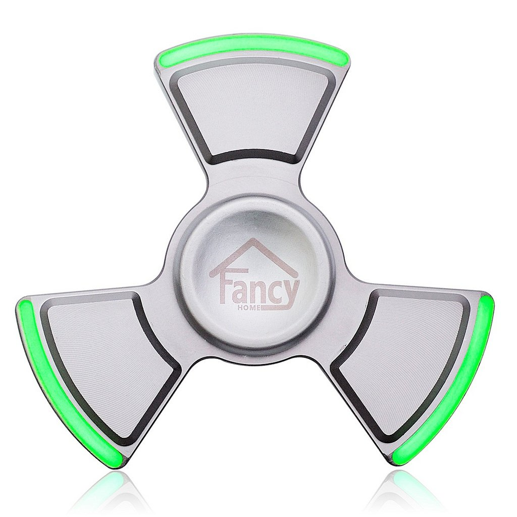 Fancy Home Anti-Anxiety Quiet Tri Fidget Hand Spinner EDC Toy for Relief from ADD ADHD, Anxiety and Boredom,Ceramic Bearing Last 5-8 Minutes Glow in The Dark Silver