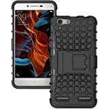 Gionee M5 Lite KickStand Back Cover, Hybrid Military Graded Shock Resistance Ultra Strong Back Cover Case BY Sun Tigers Brand(Black)