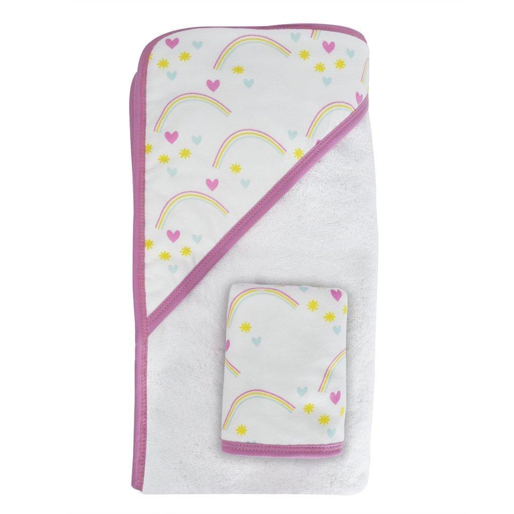 Hello Spud - Rainbow Print Hooded Bath Towel with Washcloth - Organic Cotton by Hello Spud