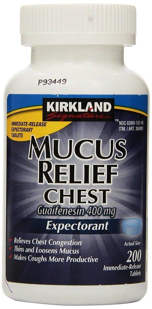 Kirkland Signature UlqeQg Mucus Relief Chest Guaifenesin 400 mg Expectorant, 200 Count (5 Pack)